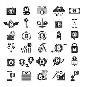 Simbolos monocromos de dinero virtual. industria del blockchain electrónico. carteras web y otros íconos del negocio criptográfico.