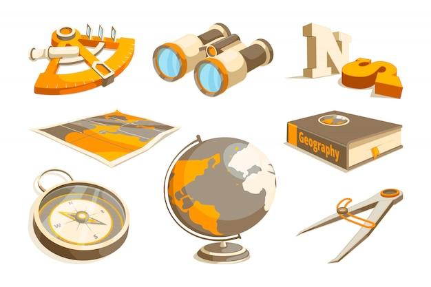Símbolos monocromos de exploración y geografía