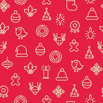 Símbolos monótonos de feliz navidad de patrones sin fisuras con diferentes tipos de regalos y juguetes de acebo