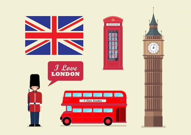 Símbolos nacionales de hito turístico de londres
