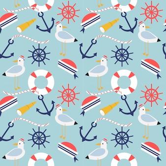 Símbolos náuticos y marinos de patrones sin fisuras.