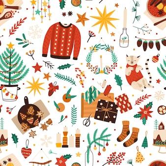 Símbolos de navidad plano de patrones sin fisuras.