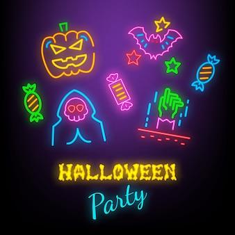 Símbolos de neón de la fiesta de halloween