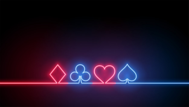 Símbolos de neón del fondo de naipes de casino