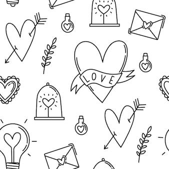 Símbolos de patrones sin fisuras y elementos para el día de san valentín