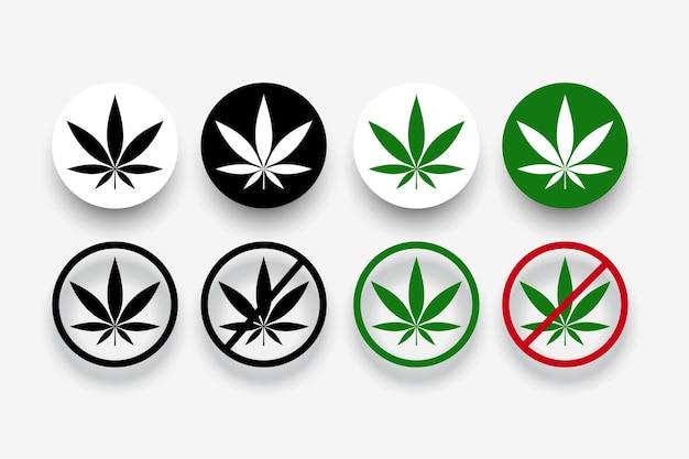 Símbolos prohibidos de marihuana con hoja