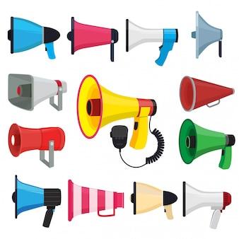 Símbolos para promocionar y anunciar. imágenes vectoriales de altavoces