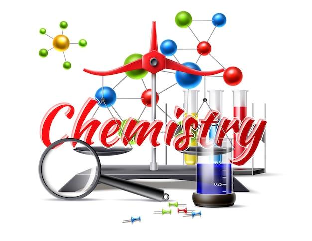 Símbolos de química realistas para la escuela.