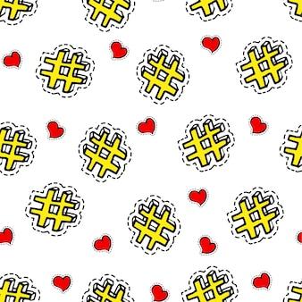 Símbolos de redes sociales, hashtag y corazón, botones de compartir y gustar. blogging y publicación online, promoción y campaña en internet. marketing o mensajería. patrón sin costuras, vector de estilo plano