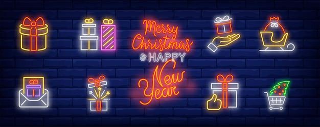 Símbolos de regalos de navidad en estilo neón