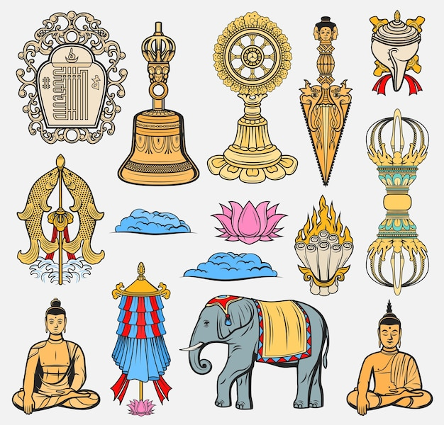 Símbolos de la religión del budismo, iconos de signos sagrados