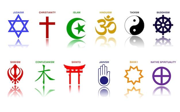 Símbolos de la religión mundial, signos de colores de los principales grupos religiosos y religiones, vector eps