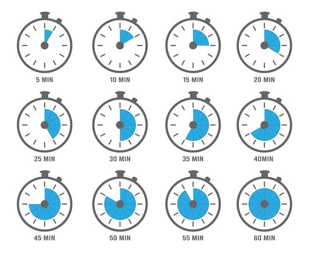 Símbolos de reloj. cronómetros, minutos y horas, objetos de gráficos circulares. reloj con ilustración de segundos y minutos