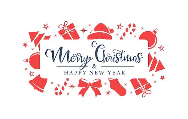 Los símbolos rojos de navidad están dispuestos aleatoriamente sobre un fondo blanco.