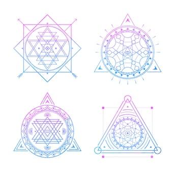 Símbolos sagrados en acuarela azul-violeta. v