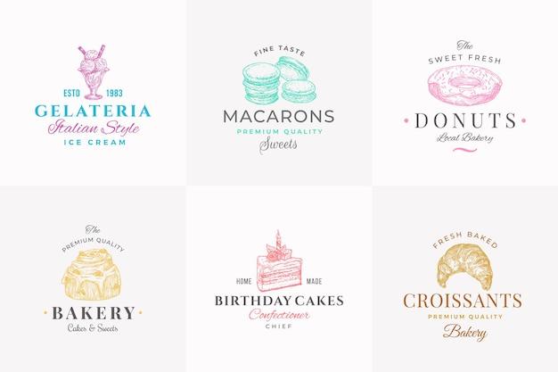 Símbolos de signos abstractos de confitería de primera calidad o plantilla de logotipo