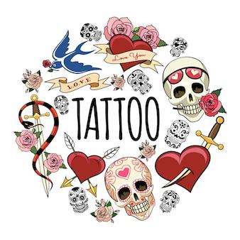 Símbolos del tatuaje del bosquejo concepto redondo con diferentes cráneos humanos y de azúcar tragar serpiente alrededor de la espada rosa flores perforadas corazones ilustración,