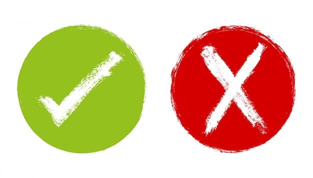 Símbolos de tick y cruz con diseño de pintura
