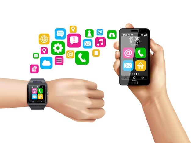 Símbolos de transferencia de datos smartwatch compatibles con teléfonos inteligentes