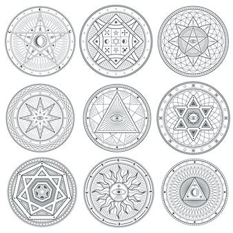 Símbolos vectoriales ocultos, místicos, espirituales, esotéricos.