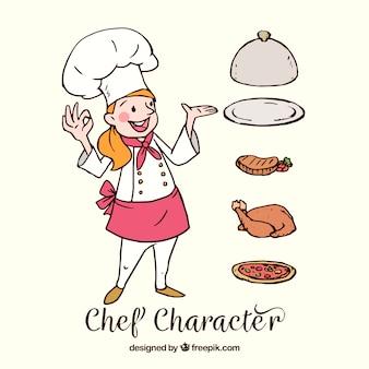 Simpática cocinera dibujada a mano con delicioso menú
