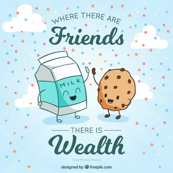 Simpática ilustración de deliciosos amigos con una frase inspiradora