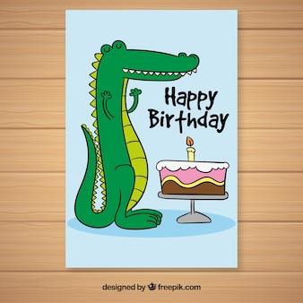 Simpática tarjeta de cocodrilo con tarta