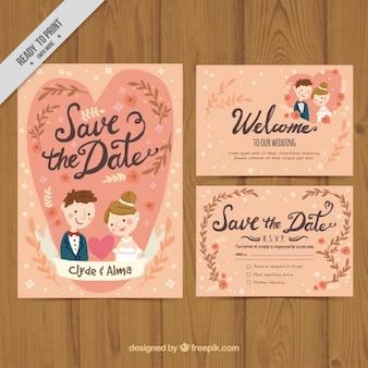 Simpática tarjeta de boda con novios en estilo vintage