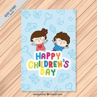 Simpática tarjeta del día del niño con chicos felices