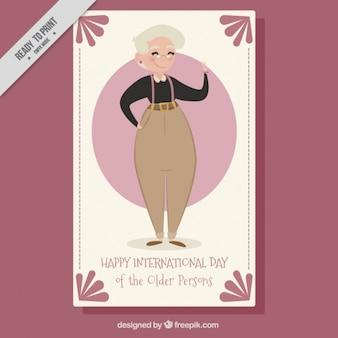 Simpática tarjeta de felicitación del dá internacional de las personas mayores