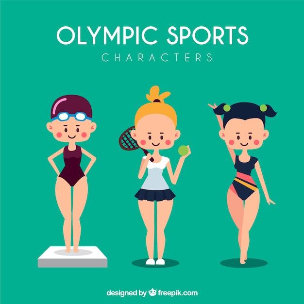 Simpáticas chicas deportistas en los juegos olímpicos