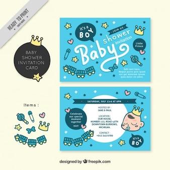 Simpáticas invitaciones de bienvenida de bebé con elementos
