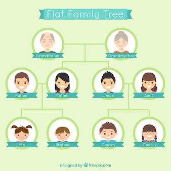 Simpático árbol genealógico en diseño plano