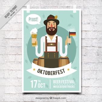 Simpático cartel de festival oktoberfest en estilo vintage