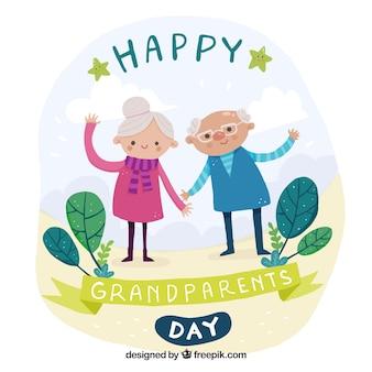 Simpático fondo de abuelitos saludando dibujados a mano