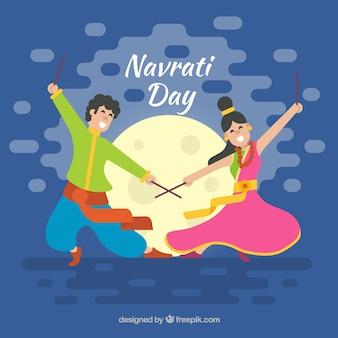 Simpático fondo de celebración de navratri con pareja bailando