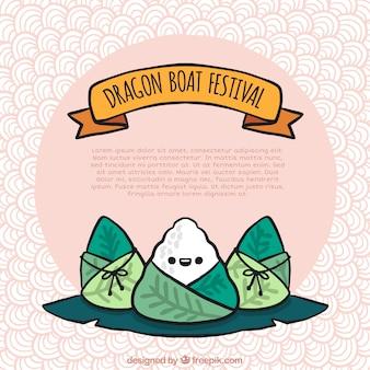 Simpático fondo de comida tradicional del festival del bote del dragón