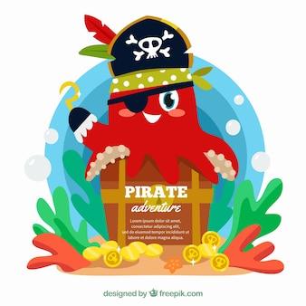 Simpático fondo de pulpo con gorro de pirata y tesoro