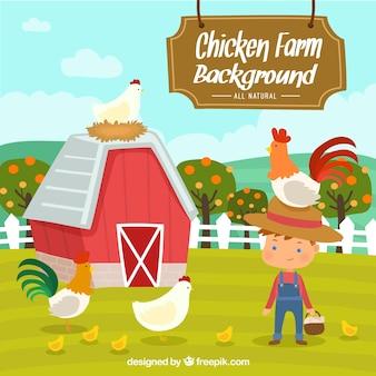 Simpático fondo de granjero con gallinas