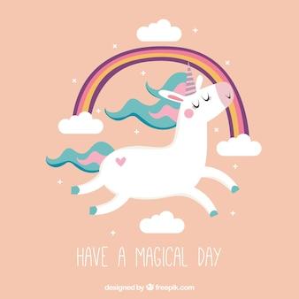 Simpático fondo vintage de unicornio y arcoiris con texto