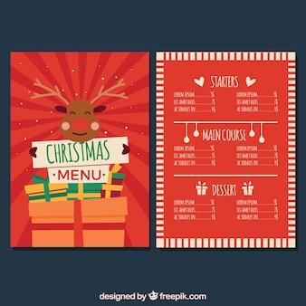 Simpático menú retro de navidad con reno