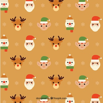 Simpático patrón de personajes de navidad