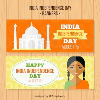 Simpáticos banners del día de independencia de india