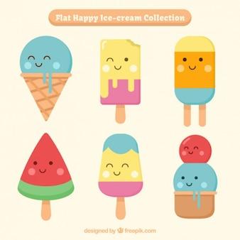 Simpáticos y divertidos personajes de helados