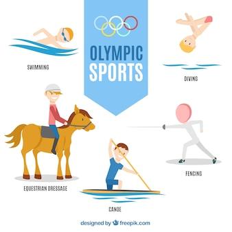 Simpáticos personajes de juegos olímpicos dibujados a mano