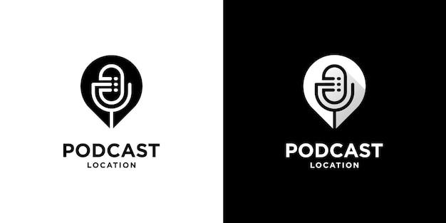 Simple combinación de pin y micrófono para el diseño de logotipos de podcasts con color blanco y negro