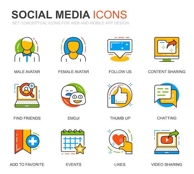 Simple conjunto de iconos de redes sociales y línea de red para sitio web
