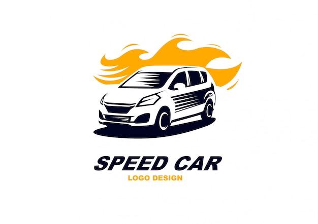 Simple, elegante, velocidad, coche, logotipo, vector, resumen