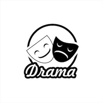 Simple emoción en blanco y negro máscara vector triste y feliz