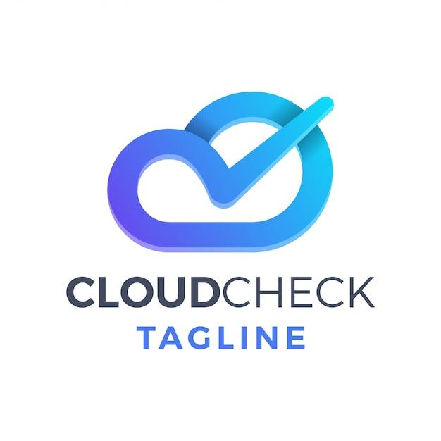 Simple icono pictórico moderno nube cheque azul degradado logo